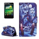 For LG K4 Wolves Pattern Flip Leather Case with Holder & Card Slots
