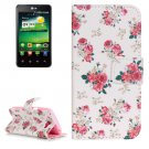 For LG K4 Rose Pattern Flip Leather Case with Holder & Card Slots