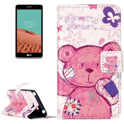 For LG  L Bello II Bear Flip Leather Case with Holder, Card Slots & Wallet