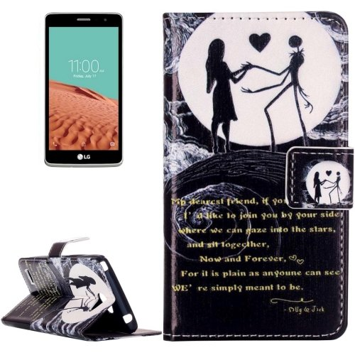 For LG  L Bello II Moon Couple Flip Leather Case with Holder, Card Slots & Wallet