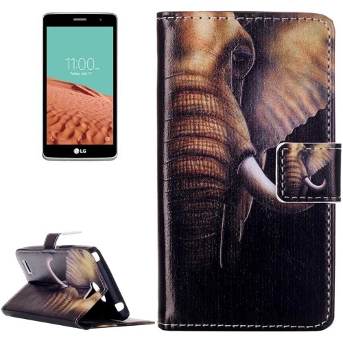 For LG  L Bello II Elephant Flip Leather Case with Holder, Card Slots & Wallet