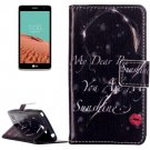 For LG  L Bello II Red Lip Flip Leather Case with Holder, Card Slots & Wallet