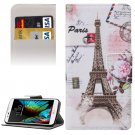For LG  K10 Eiffel Tower Flip Leather Case with Holder, Card Slots & Wallet