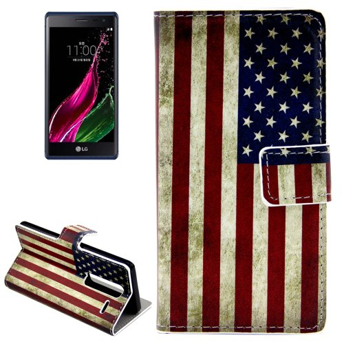 For LG  Class / Zero Retro US Flag Flip Leather Case with Holder & Card Slots