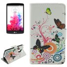 For LG G3 Stylus Butterfly Pattern Leather Case with Holder, Card Slots & Wallet