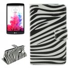 For LG G3 Stylus Zebra Pattern Leather Case with Holder, Card Slots & Wallet
