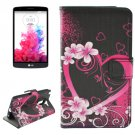 For LG G3 Stylus Heart Pattern Leather Case with Holder, Card Slots & Wallet