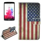 For LG G3 Stylus US Flag Pattern Leather Case with Holder, Card Slots & Wallet