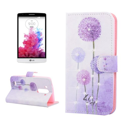For LG G3 mini Dandelion Diamond Leather Case with Holder, Card Slots & Wallet