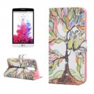 For LG G3 mini Tree Diamond Leather Case with Holder, Card Slots & Wallet