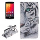 For LG Leon Tiger Pattern Leather Case with Holder, Card Slots & Wallet