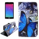 For LG Leon butterfly Pattern Leather Case with Holder, Card Slots & Wallet