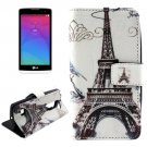 For LG Leon Tower Pattern Leather Case with Holder, Card Slots & Wallet