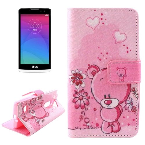 For LG Leon Bear Pattern Leather Case with Holder, Card Slots & Wallet