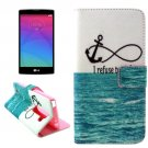 For LG Magna Anchor Pattern Leather Case with Holder, Card Slots & Wallet