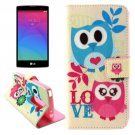 For LG Magna Two Owls Pattern Leather Case with Holder, Card Slots & Wallet