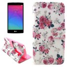 For LG Magna Rose Pattern Leather Case with Holder, Card Slots & Wallet
