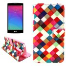 For LG Magna Square Pattern Leather Case with Holder, Card Slots & Wallet