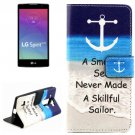 For LG Spirit Anchor Pattern Leather Case with Holder, Card Slots & Wallet