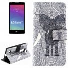 For LG Spirit Elephant Pattern Leather Case with Holder, Card Slots & Wallet