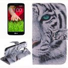 For LG G2 mini Tiger 2 Side Pattern Leather Case with Holder, Card Slots & Wallet