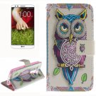 For LG G2 Owl 2 Side Pattern Leather Case with Holder, Card Slots & Wallet