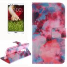 For LG G2 Clouds 2 Side Pattern Leather Case with Holder, Card Slots & Wallet