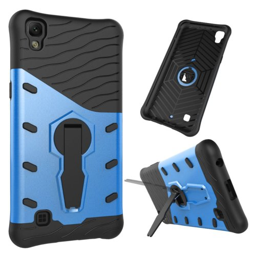 For LG X Power Blue Rotating Tough Armor TPU + PC Combination Case & Holder