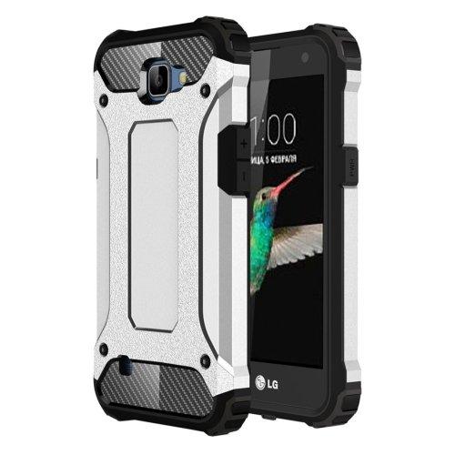 For LG K4 Silver Tough Armor TPU + PC Combination Case