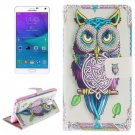 For Galaxy Note 4 Owl Pattern Leather Case with Holder, Card Slot & Wallet