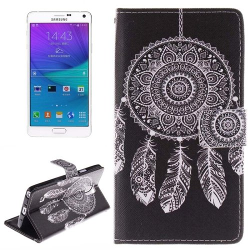 For Galaxy Note 4 Windbell Pattern Leather Case with Holder, Card Slot & Wallet