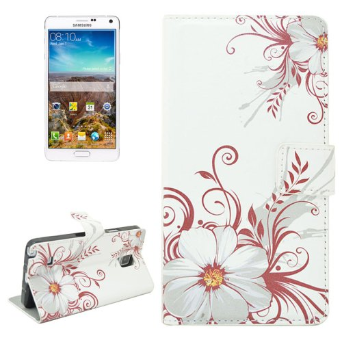 For Galaxy Note 4 Flower Pattern Flip Leather Case with Holder & Card Slots
