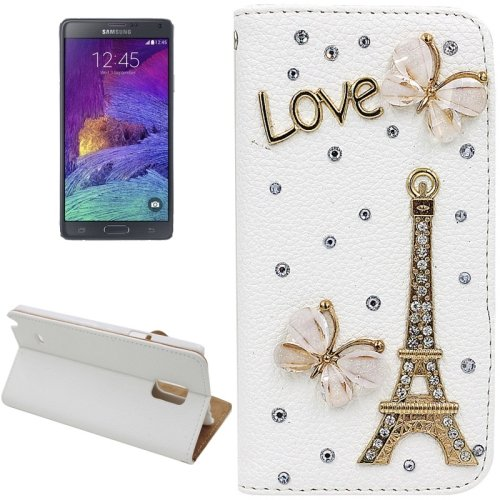For Galaxy Note 4 Eiffel Diamond Leather Case with Holder & Card Slots
