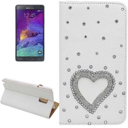 For Galaxy Note 4 Heart Diamond Leather Case with Holder & Card Slots