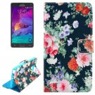 For Galaxy Note 4 Flowers Magnetic Case with Holder, Wallet & Card Slots