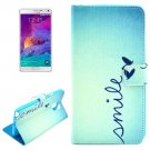 For Galaxy Note 4 Cross Smile Leather Case with Holder, Card Slots & Wallet