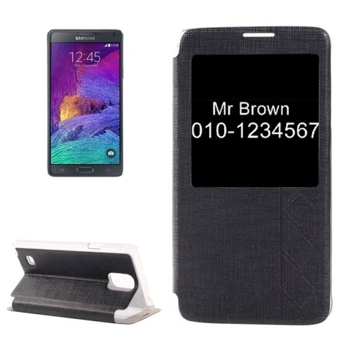 For Galaxy Note 4 Black Cross Texture Flip Leather Case with Call Display ID