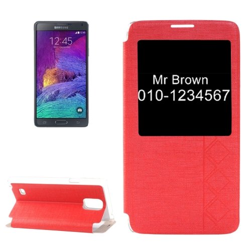 For Galaxy Note 4 Red Cross Texture Flip Leather Case with Call Display ID