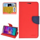 For Galaxy Note 4 Red + Blue Cross Flip Leather Case with Credit Card Slots