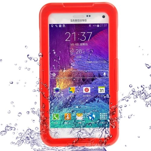 For Galaxy Note 4 Red IP68 Waterproof Protective Case with Lanyard
