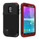 For Galaxy Note 4 Red LOVE MEI Metal Waterproof Dustproof Shockproof Case