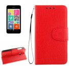 For Lumia 530 Red Litchi Flip Leather Case with Holder, Card Slots & Wallet