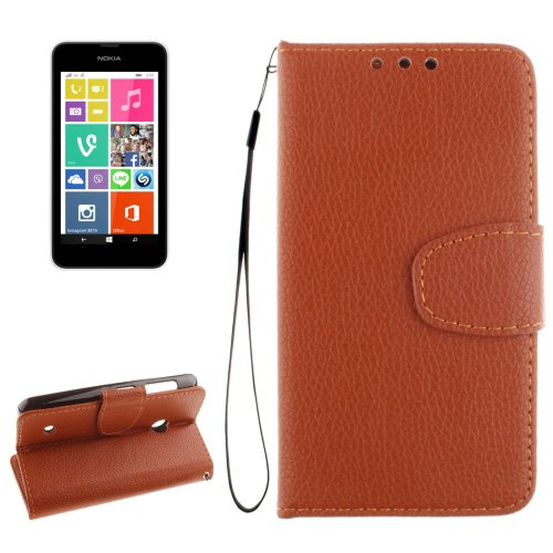 For Lumia 530 Brown Litchi Flip Leather Case with Holder, Card Slots & Wallet