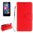 For Lumia 630/35 Red Litchi Flip Leather Case with Holder, Card Slots & Wallet