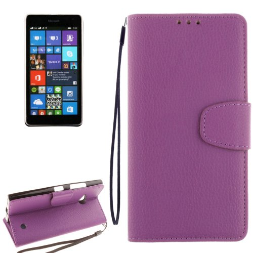 For Lumia 730 Purple Litchi Flip Leather Case with Holder, Card Slots & Wallet