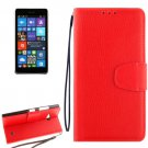 For Lumia 730 Red Litchi Flip Leather Case with Holder, Card Slots & Wallet