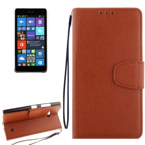 For Lumia 730 Brown Litchi Flip Leather Case with Holder, Card Slots & Wallet