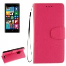 For Lumia 830 Magenta Litchi Flip Leather Case with Holder, Card Slots & Wallet