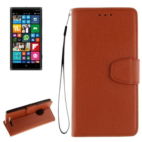For Lumia 830 Brown Litchi Flip Leather Case with Holder, Card Slots & Wallet