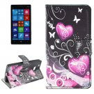 For Lumia 930 Heart Pattern Leather Case with Holder, Card Slots & Wallet